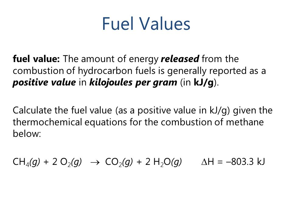 Fuel Values