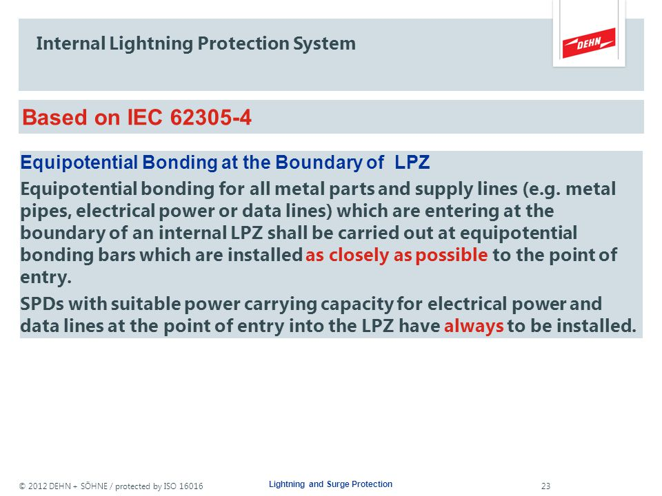 Internal Lightning Protection System