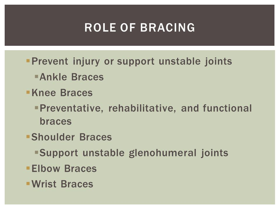 Role of Bracing Prevent injury or support unstable joints Ankle Braces