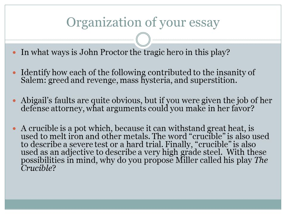 Organization of your essay