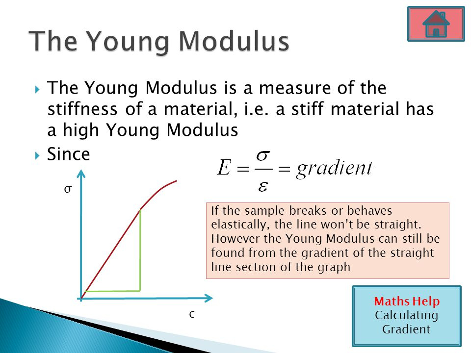 The Young Modulus The Young Modulus is a measure of the stiffness of a material, i.e. a stiff material has a high Young Modulus.