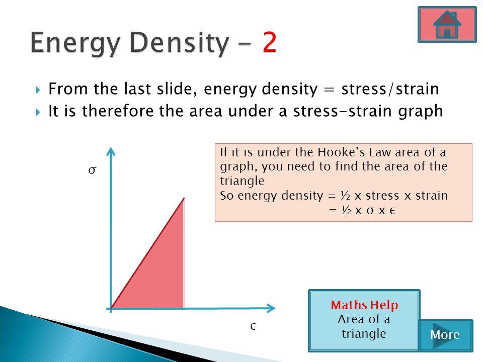 Energy Density - 2 From the last slide, energy density = stress/strain