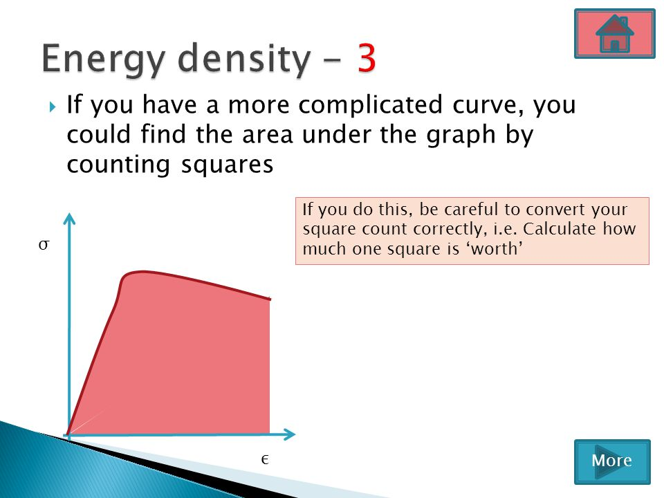Energy density - 3 If you have a more complicated curve, you could find the area under the graph by counting squares.