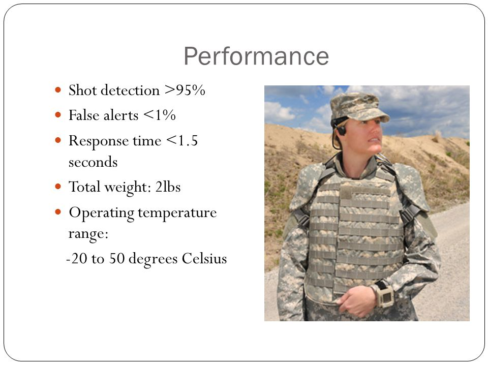 Performance Shot detection >95% False alerts <1%