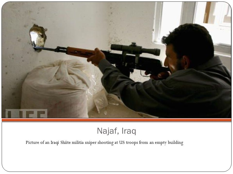Najaf, Iraq Picture of an Iraqi Shiite militia sniper shooting at US troops from an empty building