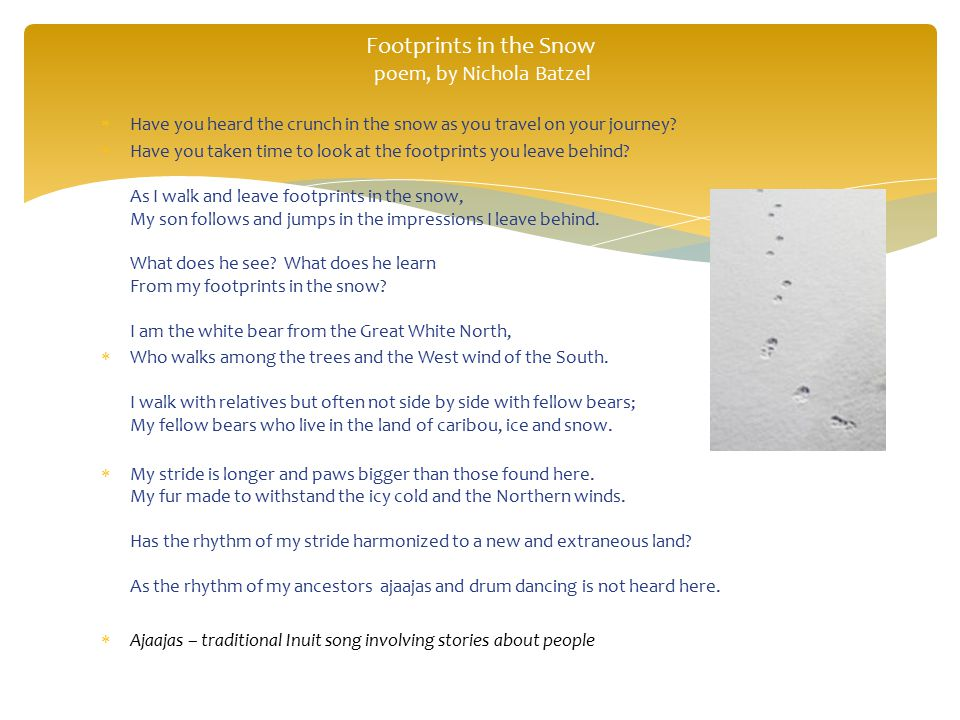 Footprints in the Snow poem, by Nichola Batzel