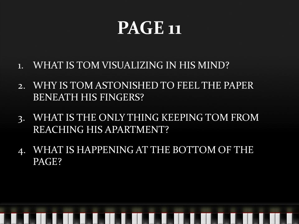 PAGE 11 WHAT IS TOM VISUALIZING IN HIS MIND