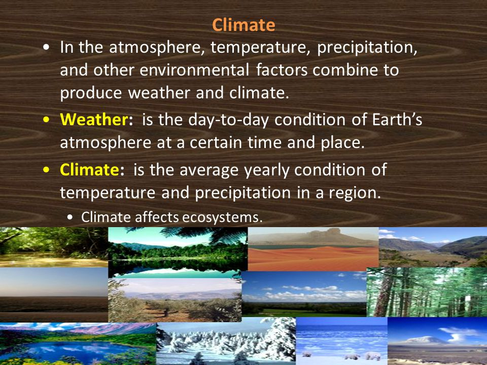 Climate In the atmosphere, temperature, precipitation, and other environmental factors combine to produce weather and climate.