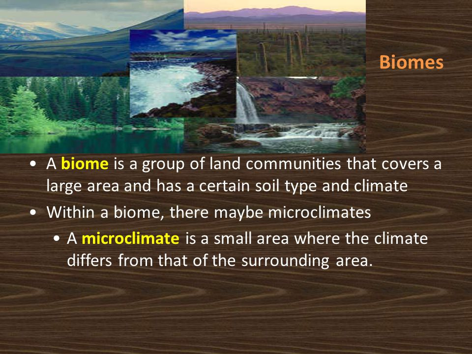 Biomes A biome is a group of land communities that covers a large area and has a certain soil type and climate.