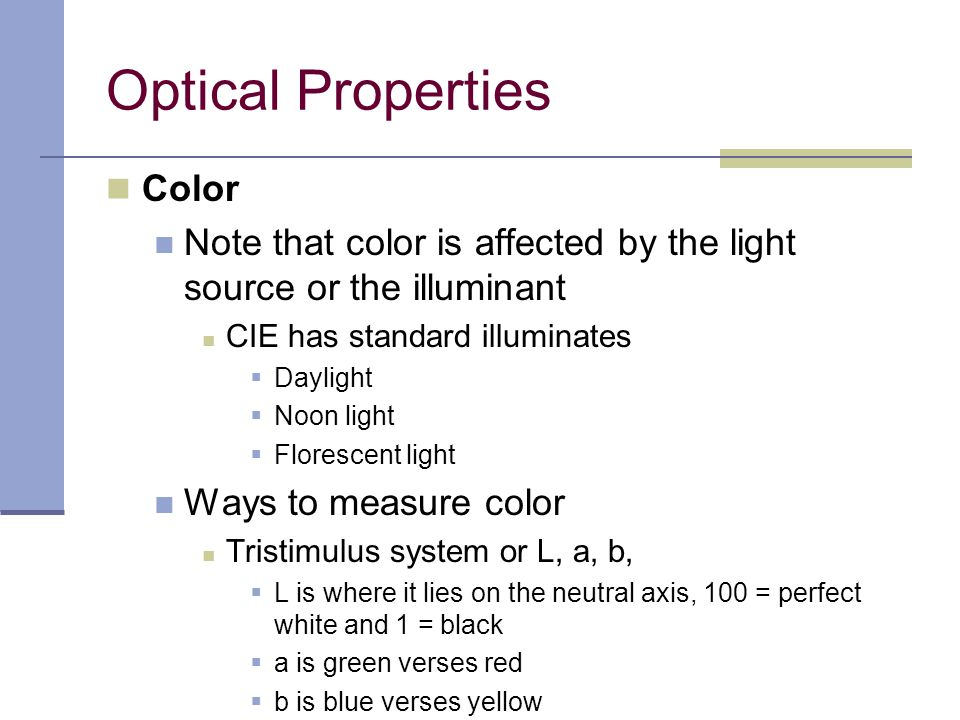 Optical Properties Color