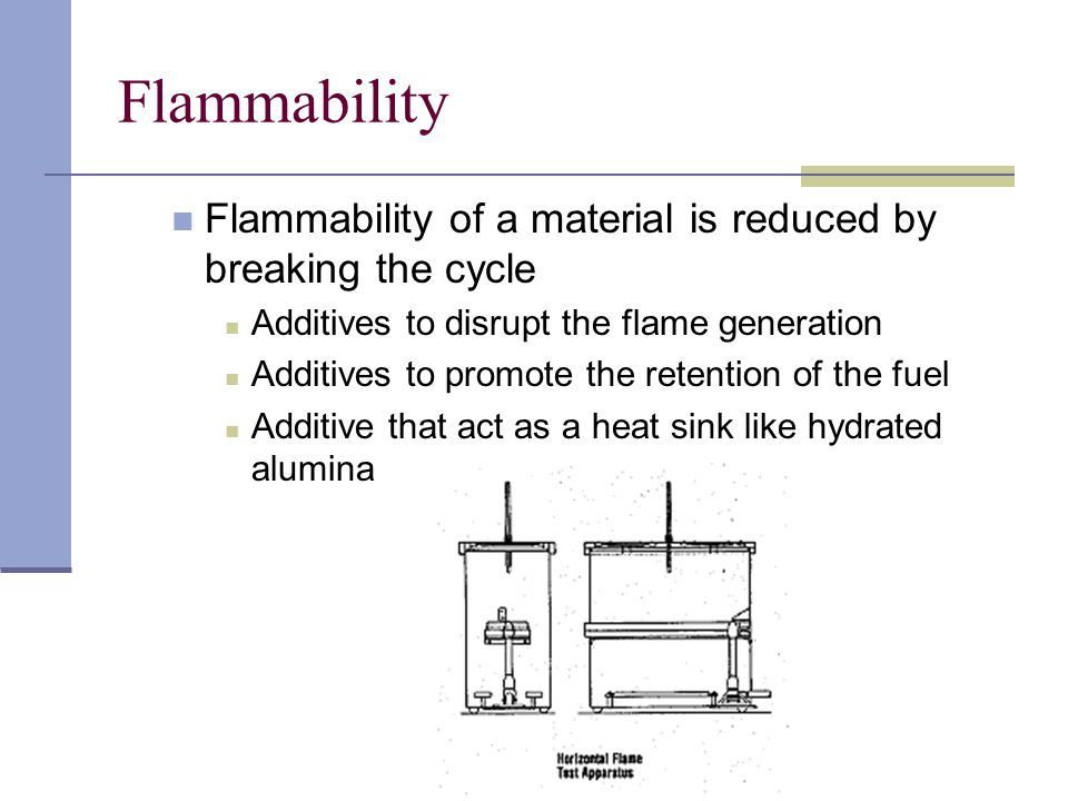 Flammability Flammability of a material is reduced by breaking the cycle. Additives to disrupt the flame generation.