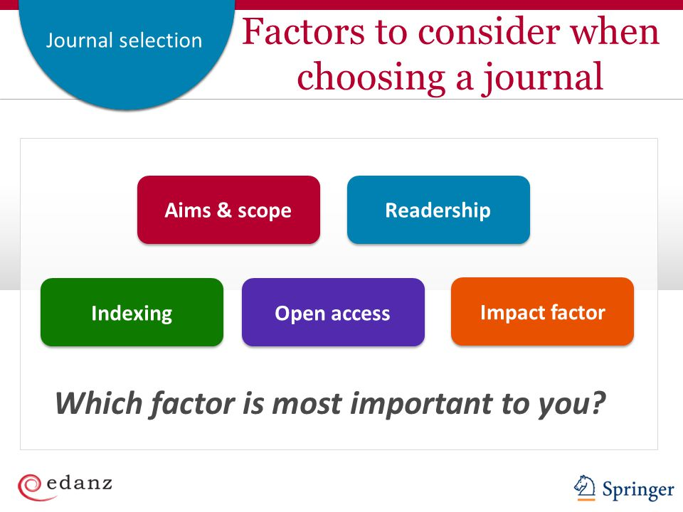 Factors to consider when choosing a journal