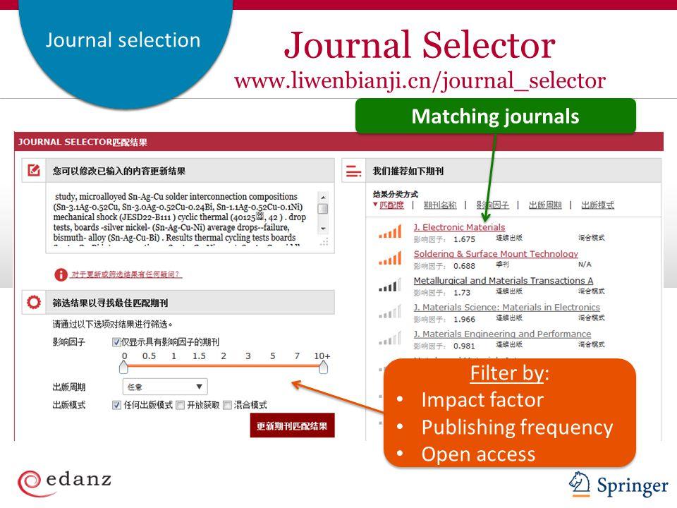 Journal Selector www.liwenbianji.cn/journal_selector
