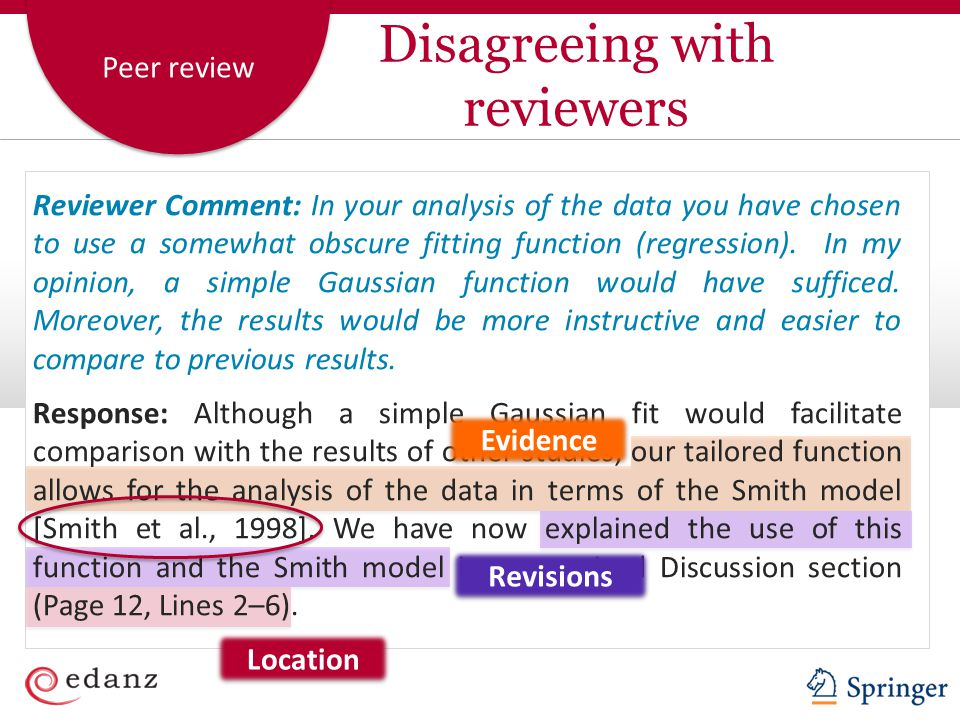 Disagreeing with reviewers
