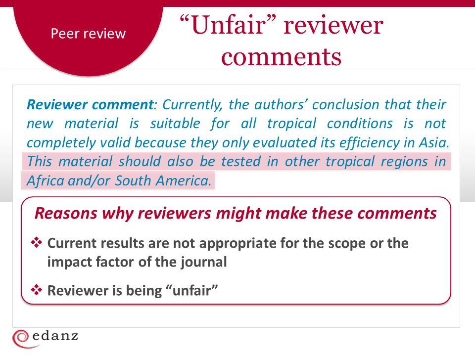 Unfair reviewer comments