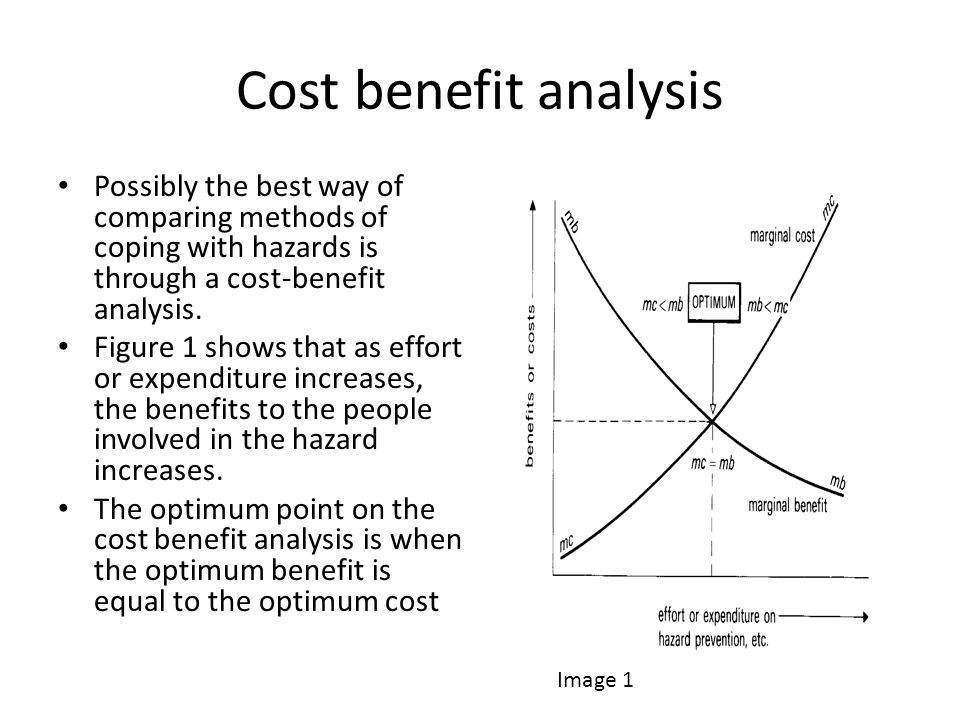 Cost benefit analysis Possibly the best way of comparing methods of coping with hazards is through a cost-benefit analysis.