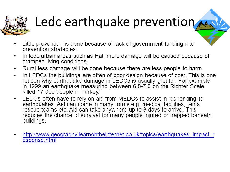 Ledc earthquake prevention