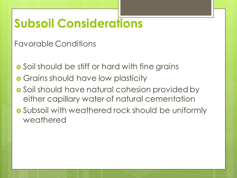 Subsoil Considerations