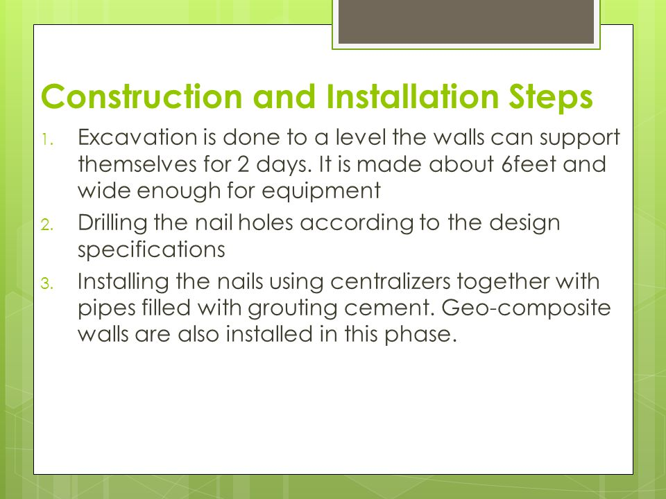 Construction and Installation Steps