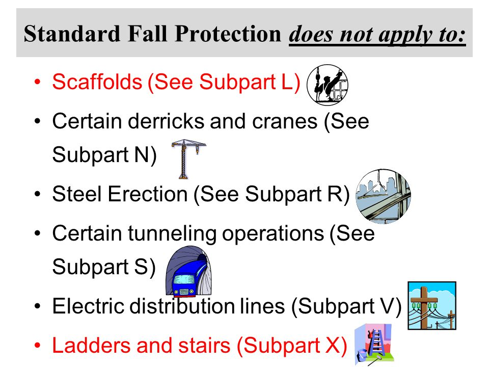 Standard Fall Protection does not apply to: