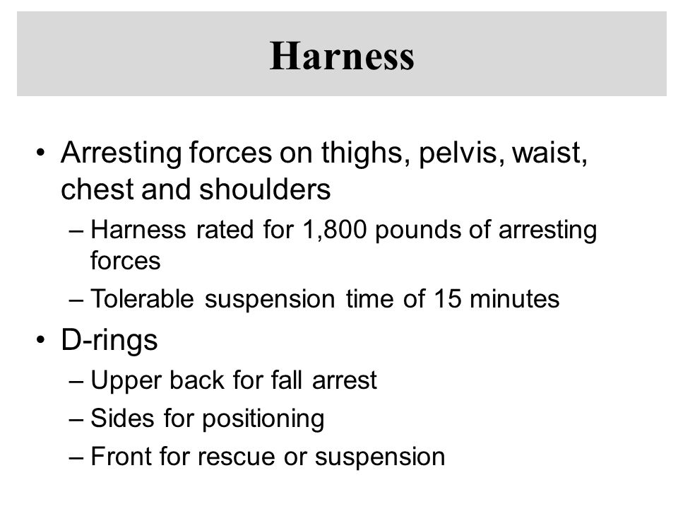 Harness Arresting forces on thighs, pelvis, waist, chest and shoulders