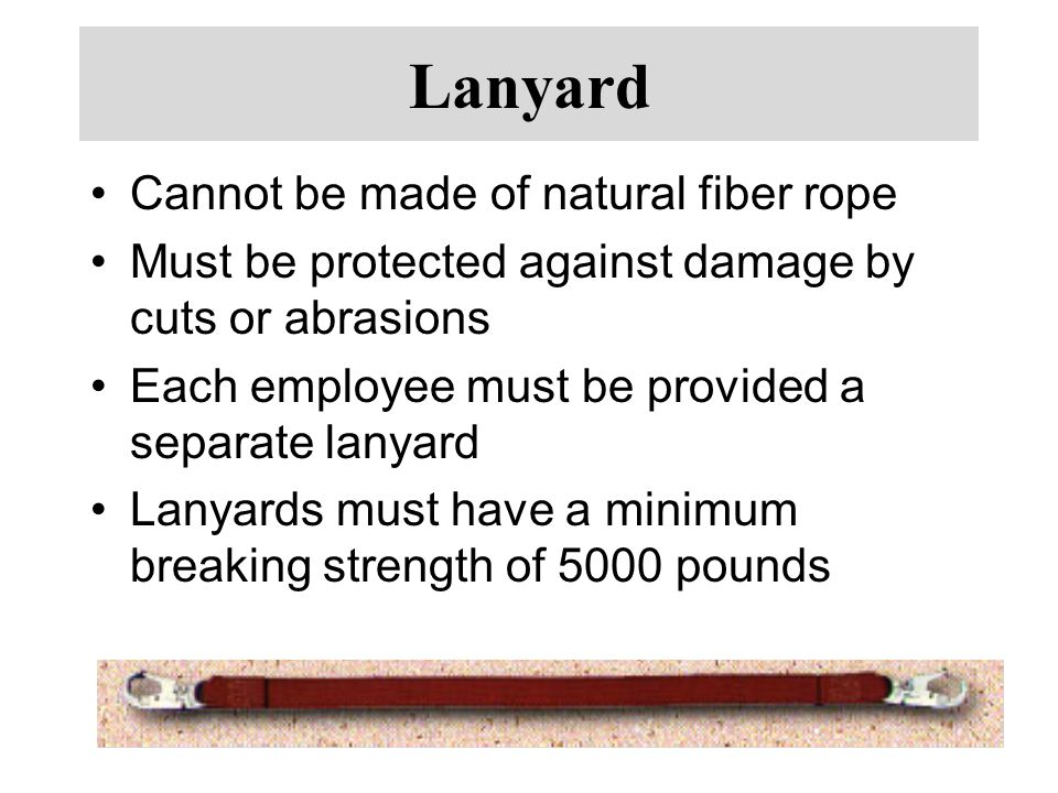 Lanyard Cannot be made of natural fiber rope
