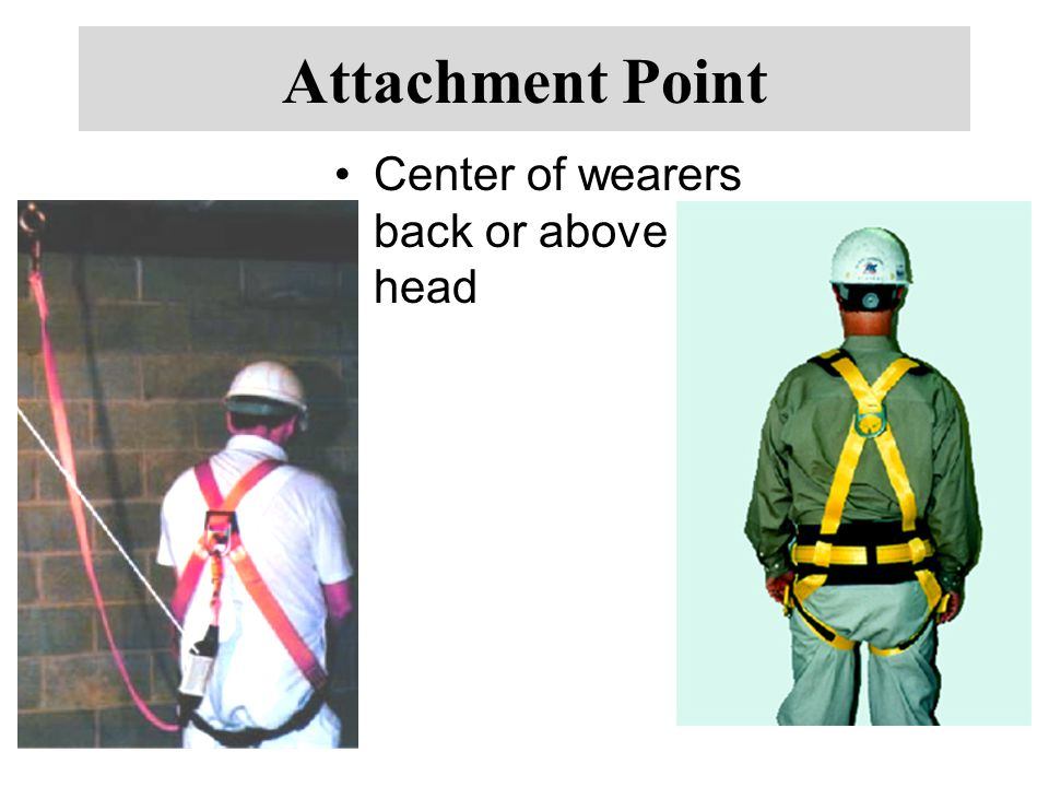 Attachment Point Center of wearers back or above head
