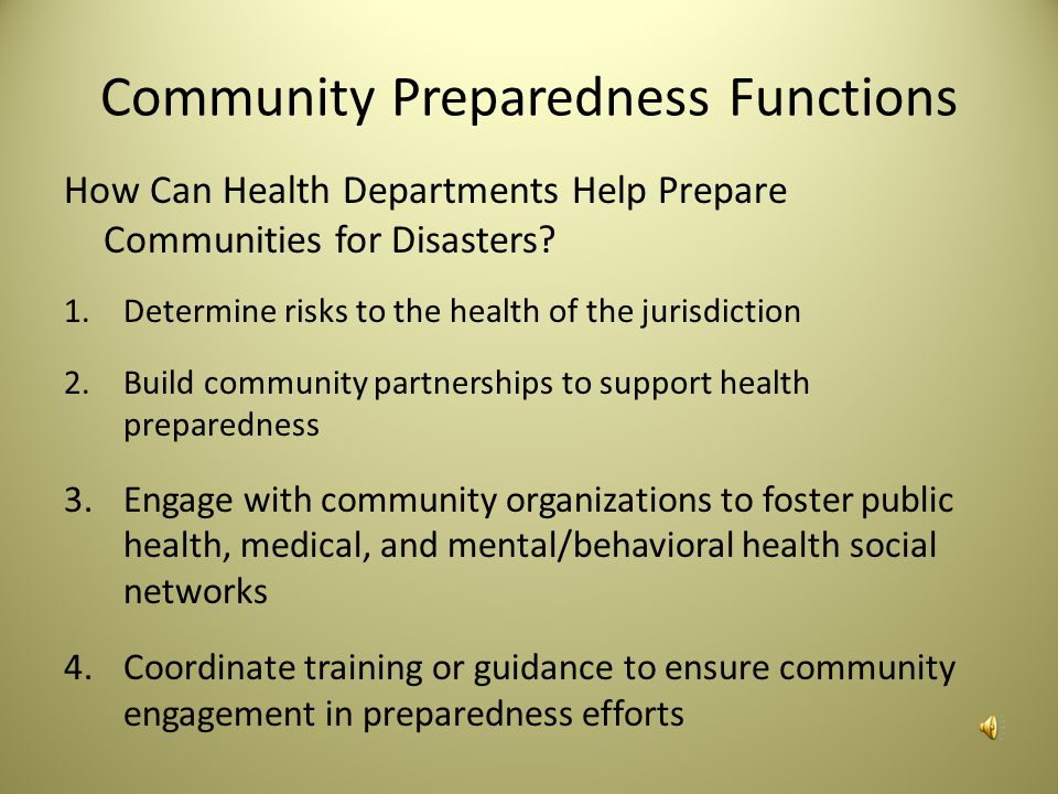 Community Preparedness Functions