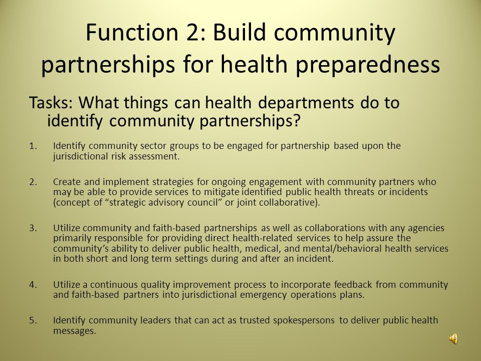 Function 2: Build community partnerships for health preparedness