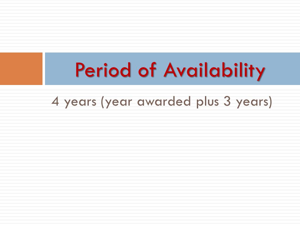 Period of Availability