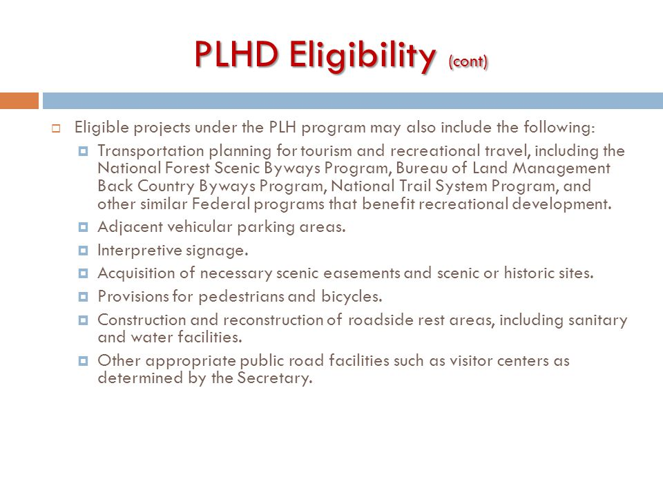 PLHD Eligibility (cont)