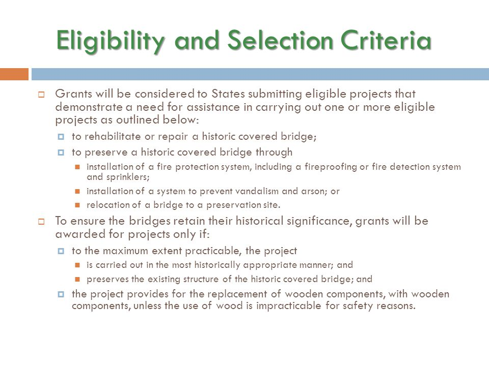Eligibility and Selection Criteria