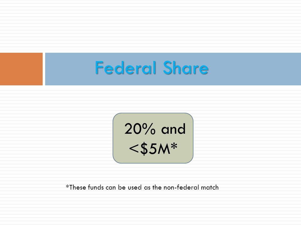 Federal Share 20% and <$5M*