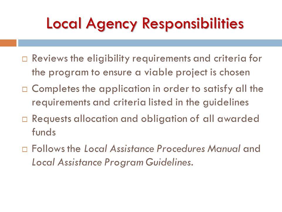 Local Agency Responsibilities
