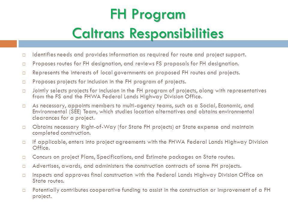 FH Program Caltrans Responsibilities