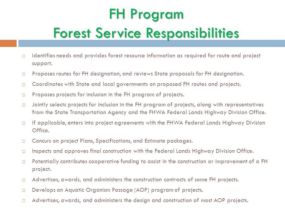 FH Program Forest Service Responsibilities