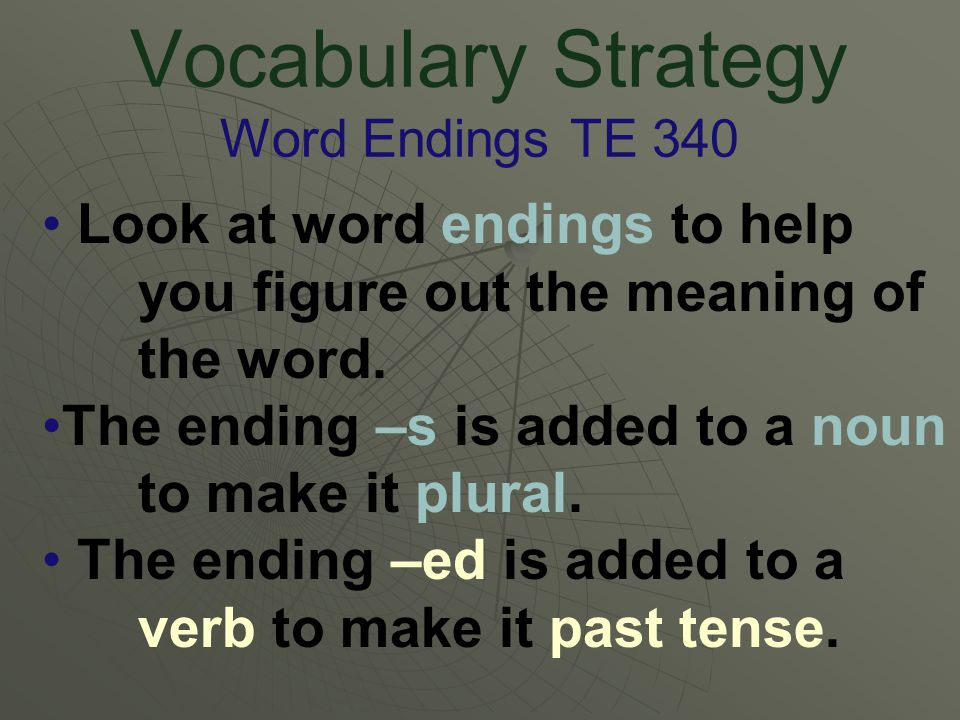 Vocabulary Strategy Word Endings TE 340