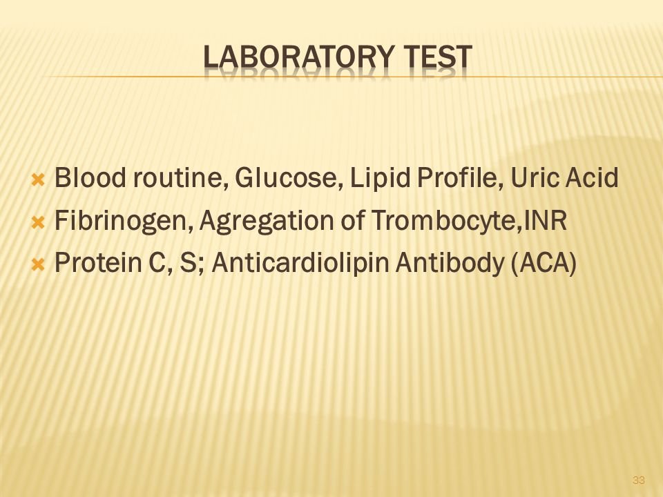 Laboratory test Blood routine, Glucose, Lipid Profile, Uric Acid