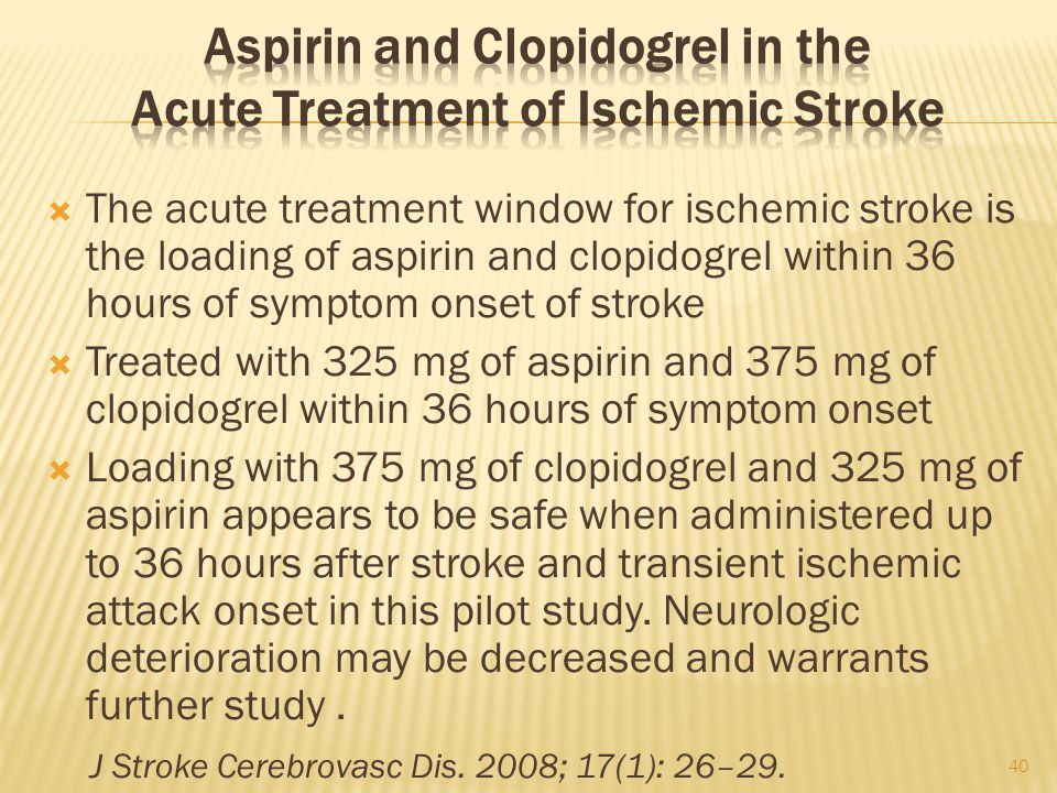 Aspirin and Clopidogrel in the Acute Treatment of Ischemic Stroke