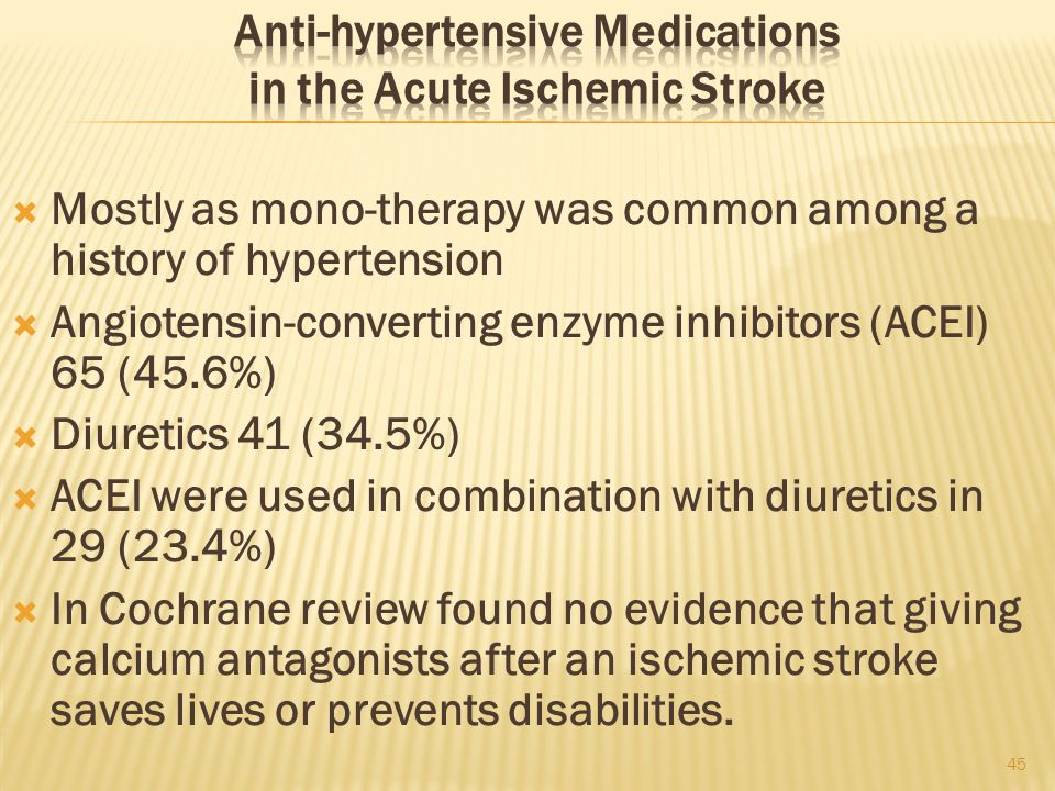 Anti-hypertensive Medications in the Acute Ischemic Stroke