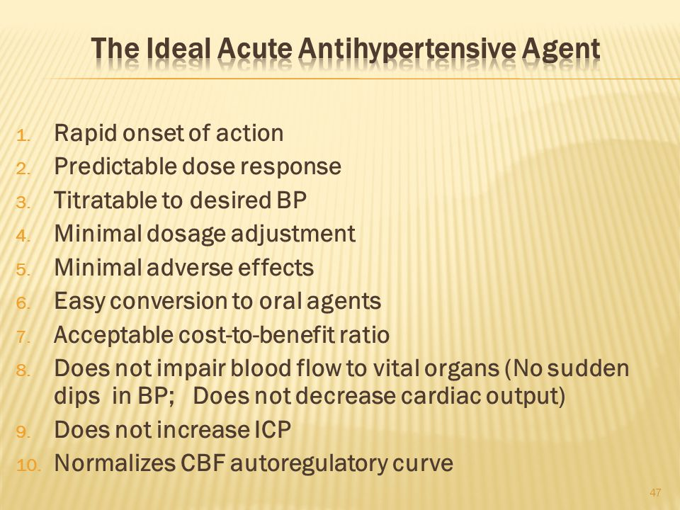 The Ideal Acute Antihypertensive Agent
