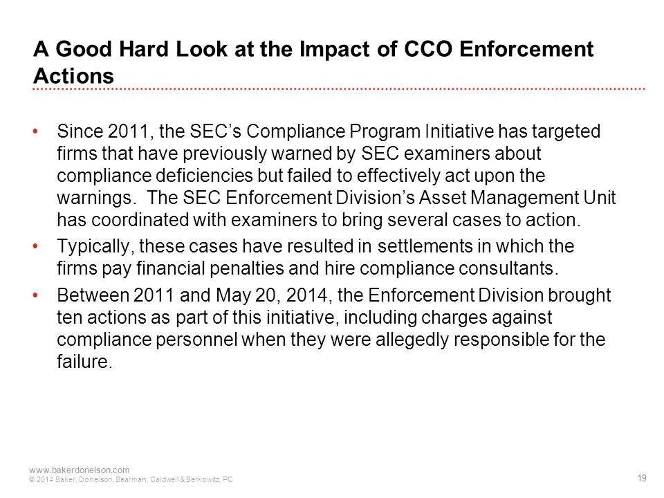 A Good Hard Look at the Impact of CCO Enforcement Actions
