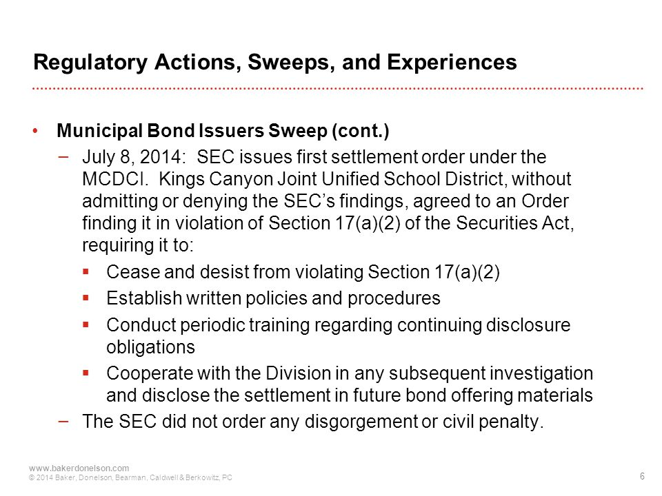Regulatory Actions, Sweeps, and Experiences