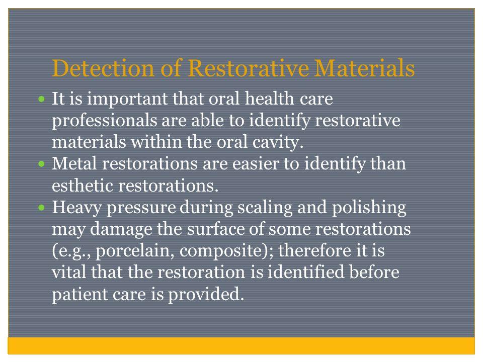 Detection of Restorative Materials