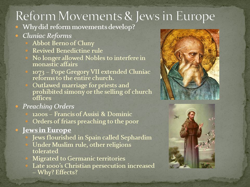 Reform Movements & Jews in Europe