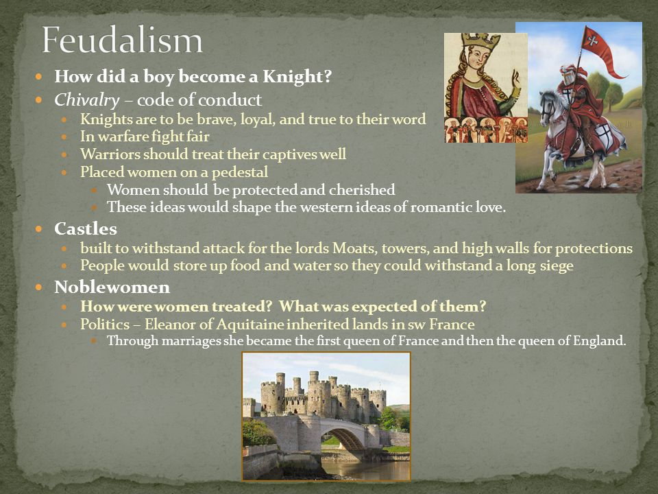 Feudalism How did a boy become a Knight Chivalry – code of conduct