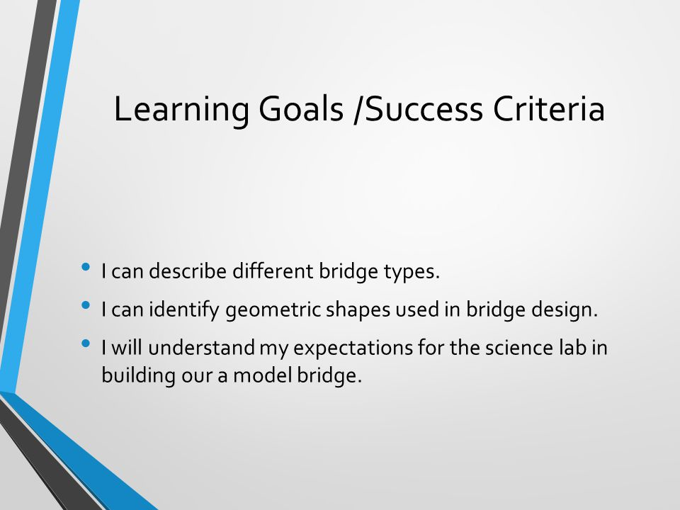 Learning Goals /Success Criteria