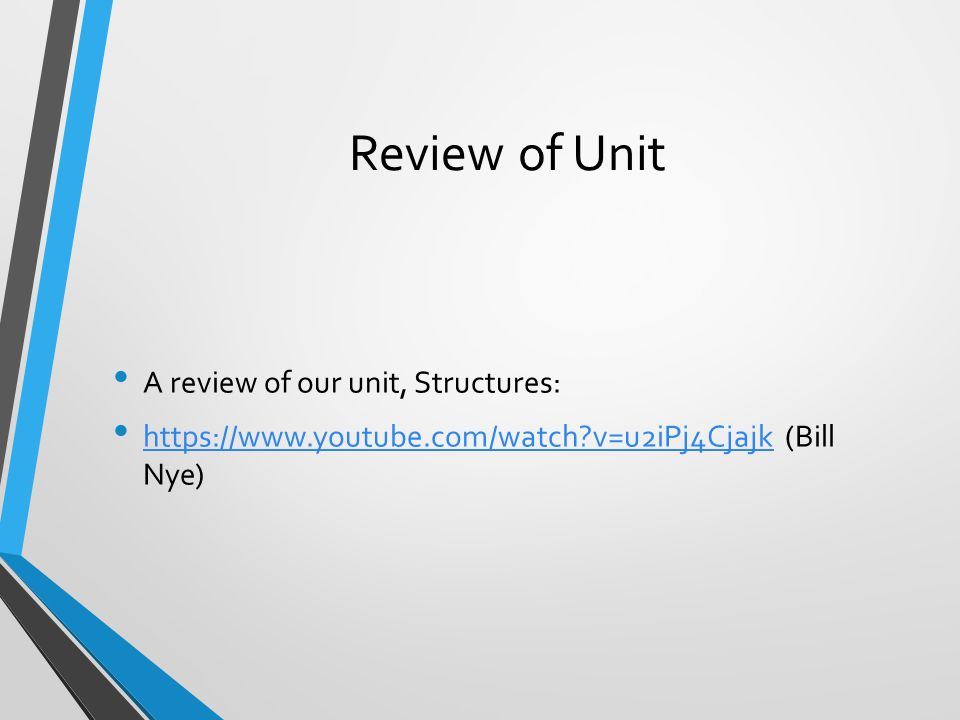Review of Unit A review of our unit, Structures: