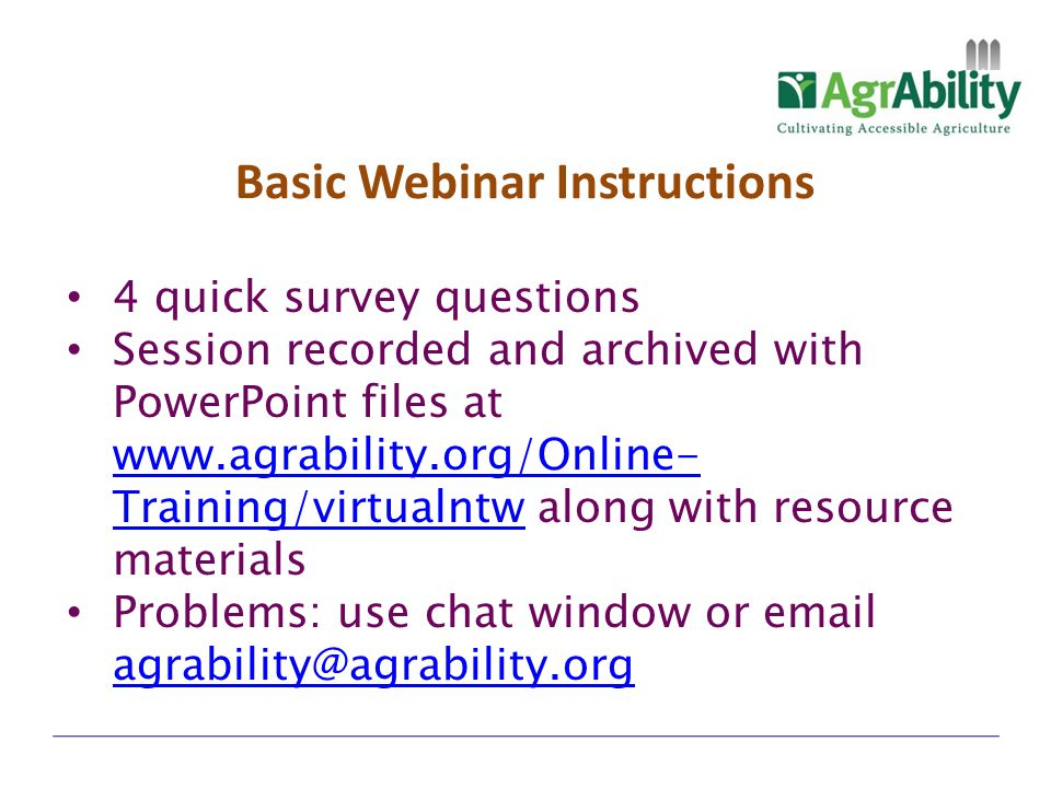 Basic Webinar Instructions
