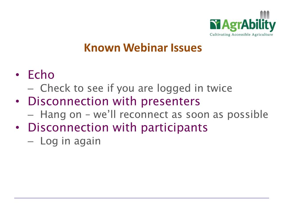 Known Webinar Issues Echo Disconnection with presenters